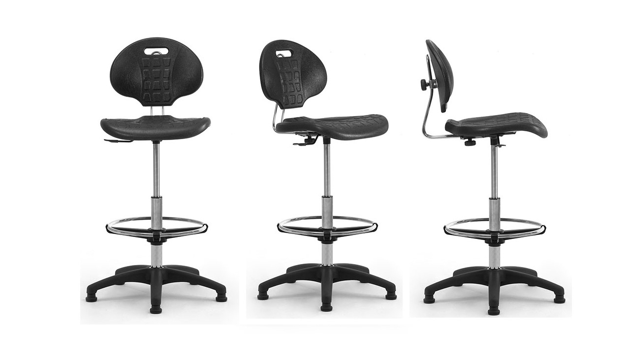 Integral polyurethane stools with footrest for cash desk and workstations